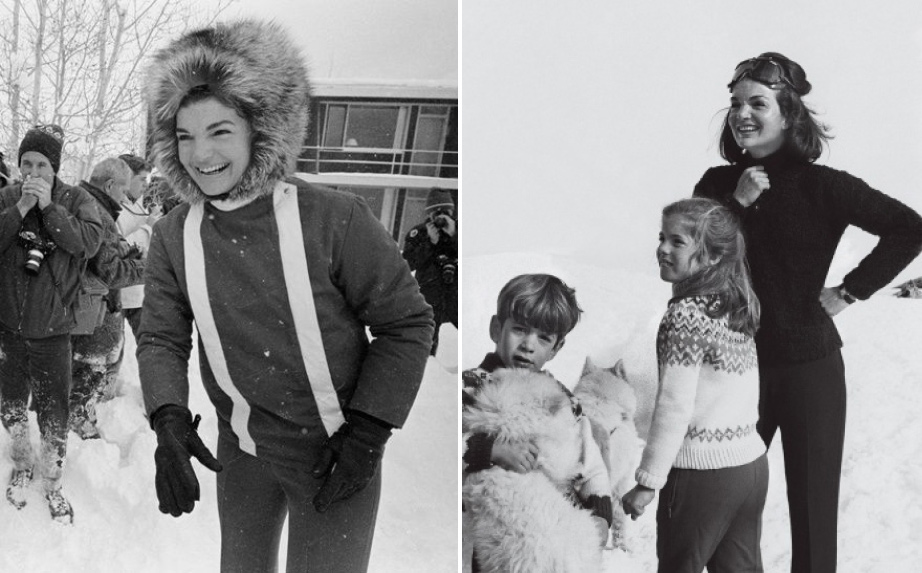 Jackie O, 1960s. (R) Jackie O with children, Sun Valley, 1966.